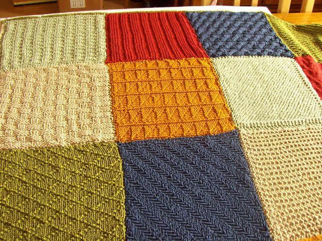 Knitting Patterns For Squares : Knitted squares blanket Flickr - Photo Sharing!