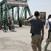 NewsHour team at Euphrates bridge in Fallujah