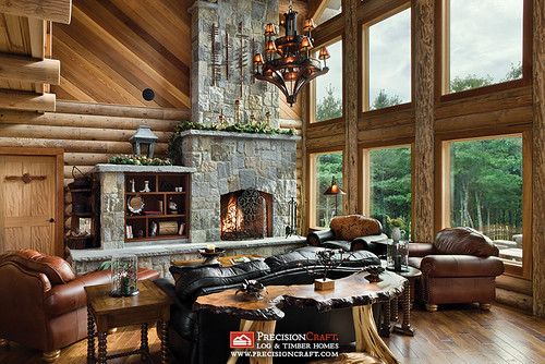 Log Home Great Room | PrecisionCraft Log Homes