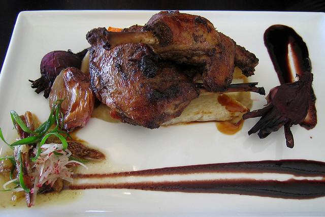 Duck Legs with Roasted Vegetables and Pear Puree