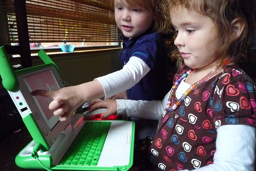 young girls on laptop