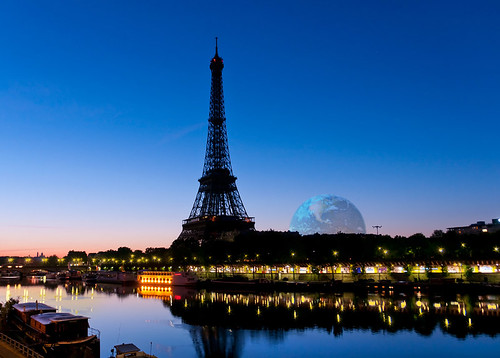 paris france seine sunrise river eiffeltower