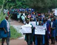 Lecturers demonstrating in southeast Nigeria against the cuts in higher education. The Academic Staff Union of Universities (AASU) has been striking in the region since July 2010. by Pan-African News Wire File Photos