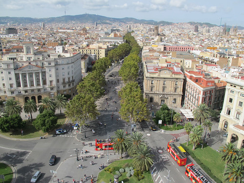 View of La Rambla from the Mirador de Colon - Barcelona