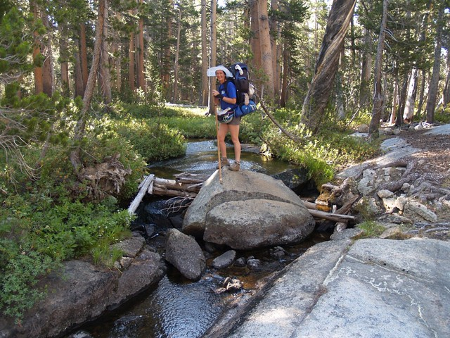 Vicki crossing the Middle Fork of Dougherty Creek, on the Simpson Meadow Trail.