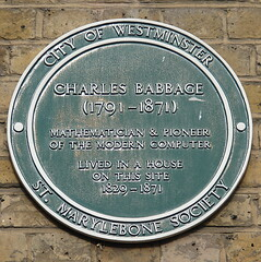 Photo of Charles Babbage green plaque
