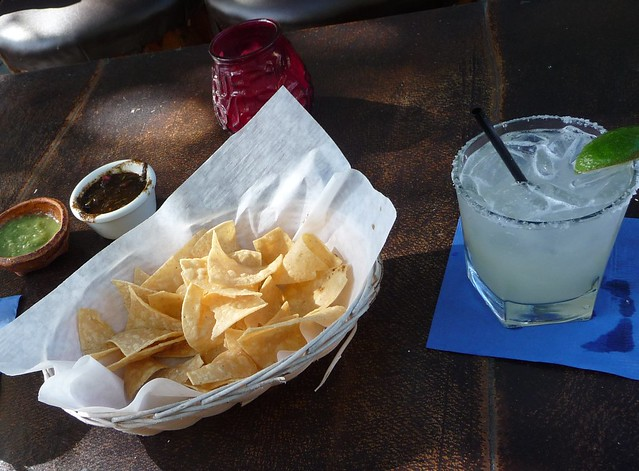 Three of my favorite things: chips, salsa and a margarita
