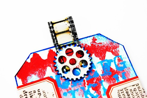 Meihsia Liu Simply Paper Crafts Mixed Media Tag Red White Blue Simon Says Stamp Tim Holtz 2