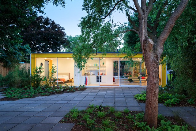 prefab 1960s harvard design London Wimbledon House pavers