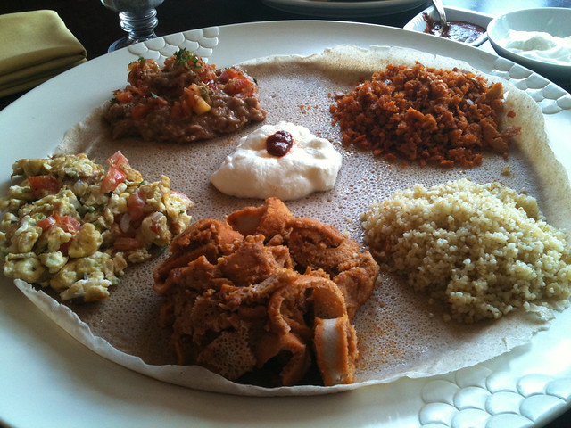 Authentic ethiopian breakfast food brunch at mesob for Authentic ethiopian cuisine