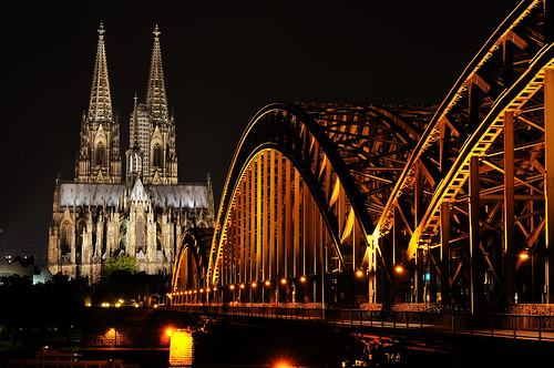 Cologne Cathedral and Hohenzollernbrücke at Night Germany