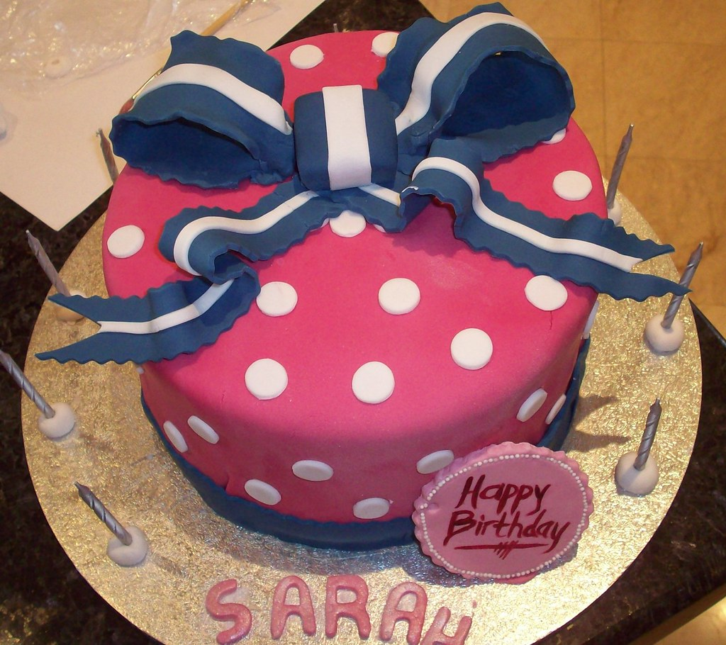 Navy blue & hot pink birthday cake
