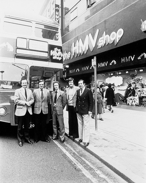 hmv 363 Oxford Street - hmv branded bus and unknown people late 1970s