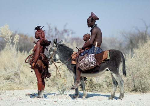 Himba family with donkey - Angola