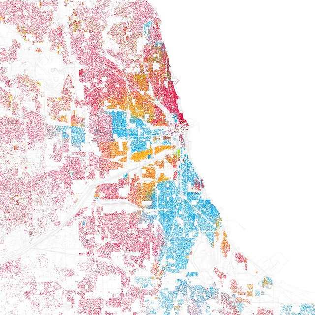"""Forest Glen County Preserve, Illinois - I was astounded by <a href=""""http://www.radicalcartography.net/index.html?chicagodots"""" rel=""""nofollow"""">Bill Rankin`s map of Chicago`s racial and ethnic divides</a> and wanted to see what other cities looked like mapped the same way.  To match his map, Red is White, Blue is Black, Green is Asian, Orange is Hispanic, Gray is Other, and each dot is 25 people.  Data from Census 2000.  Base map © OpenStreetMap, CC-BY-SA"""