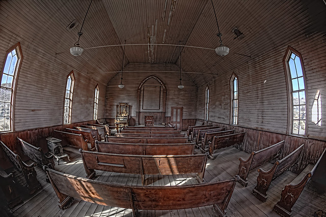 Bodie State Park, inside the old Methodist church. HDR.
