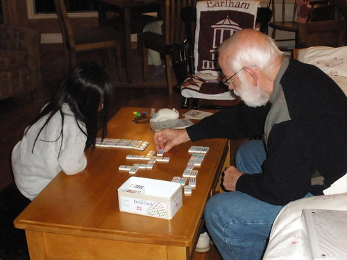 Dad and Olivia Playing Dominoes