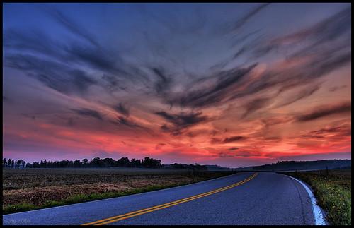 road sunset cloud hdr