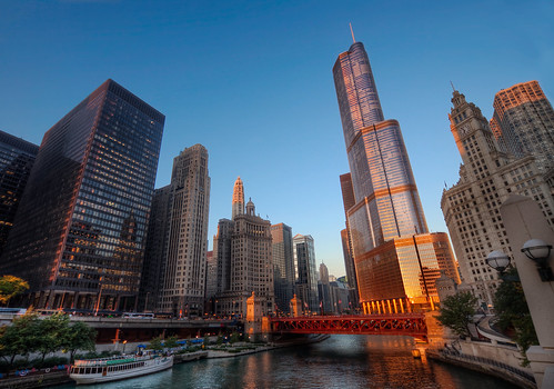 sky chicago tower water skyscraper sunrise river drive boat illinois downtown glow loop michiganave hyatt wrigley trump wacker 2010