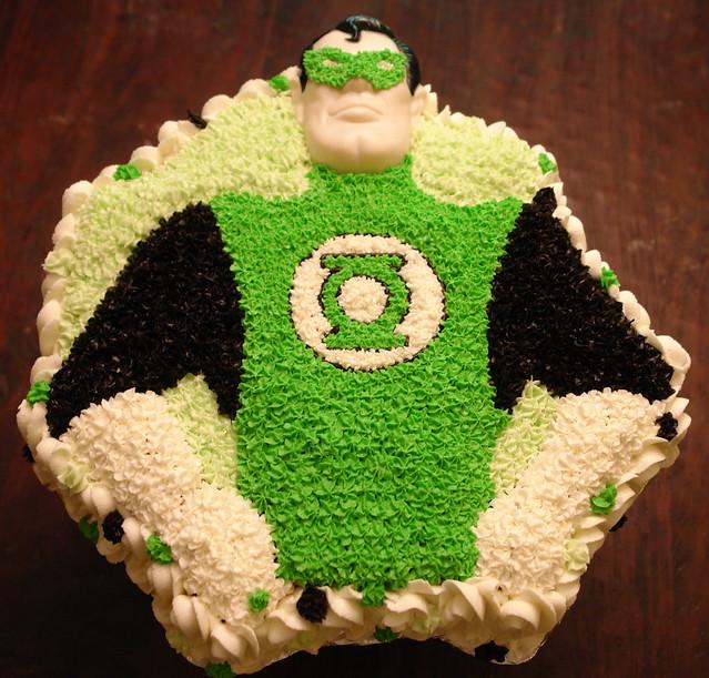 Hal Jordan Green Lantern cake made using vintage superman Wilton cake pan