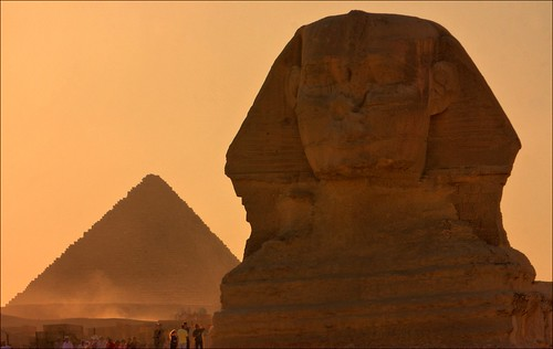 sunset sphinx pyramid egypt cairo giza picnik