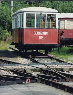 Oberweißbacher Bergbahn - Deutsche Reichsbahn Aufsetzwagen fuer die Güterbühne , Thüringen Aug 1991