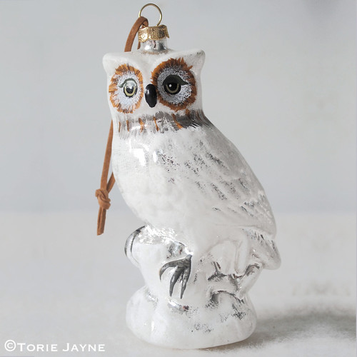 Snowy white hanging owl ornament