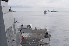 RSS Intrepid (FFS 69), HTMS Naresuan (FFG 421), and USS Coronado (LCS 4) form a line behind USS Sterett (DDG 104) as the ships prepare to conduct a live-fire exercise, May 10. (U.S. Navy/MC1 Byron C. Linder)