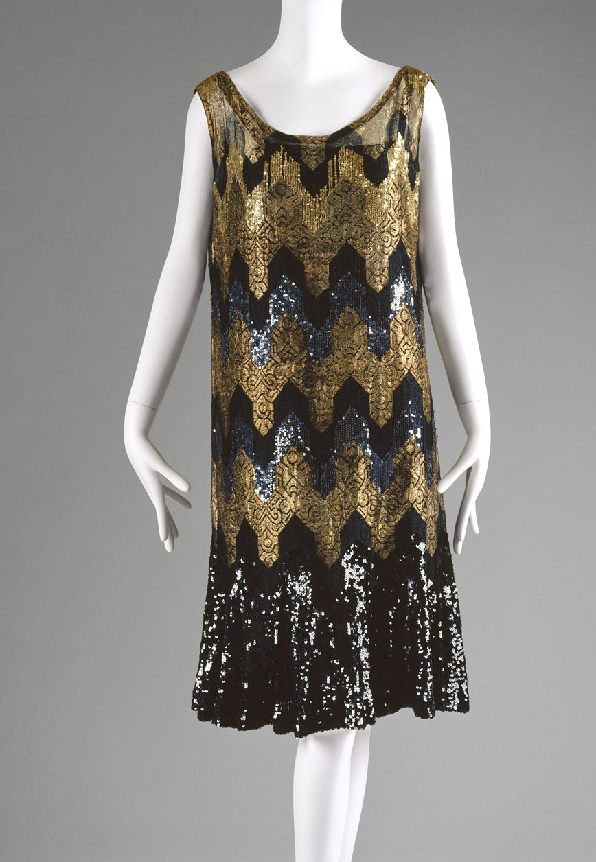 1920s Chanel Evening dress. Silk, metallic thread, sequins. metmuseum