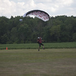 Experienced skydiver Rob Cowan coming for for a landing