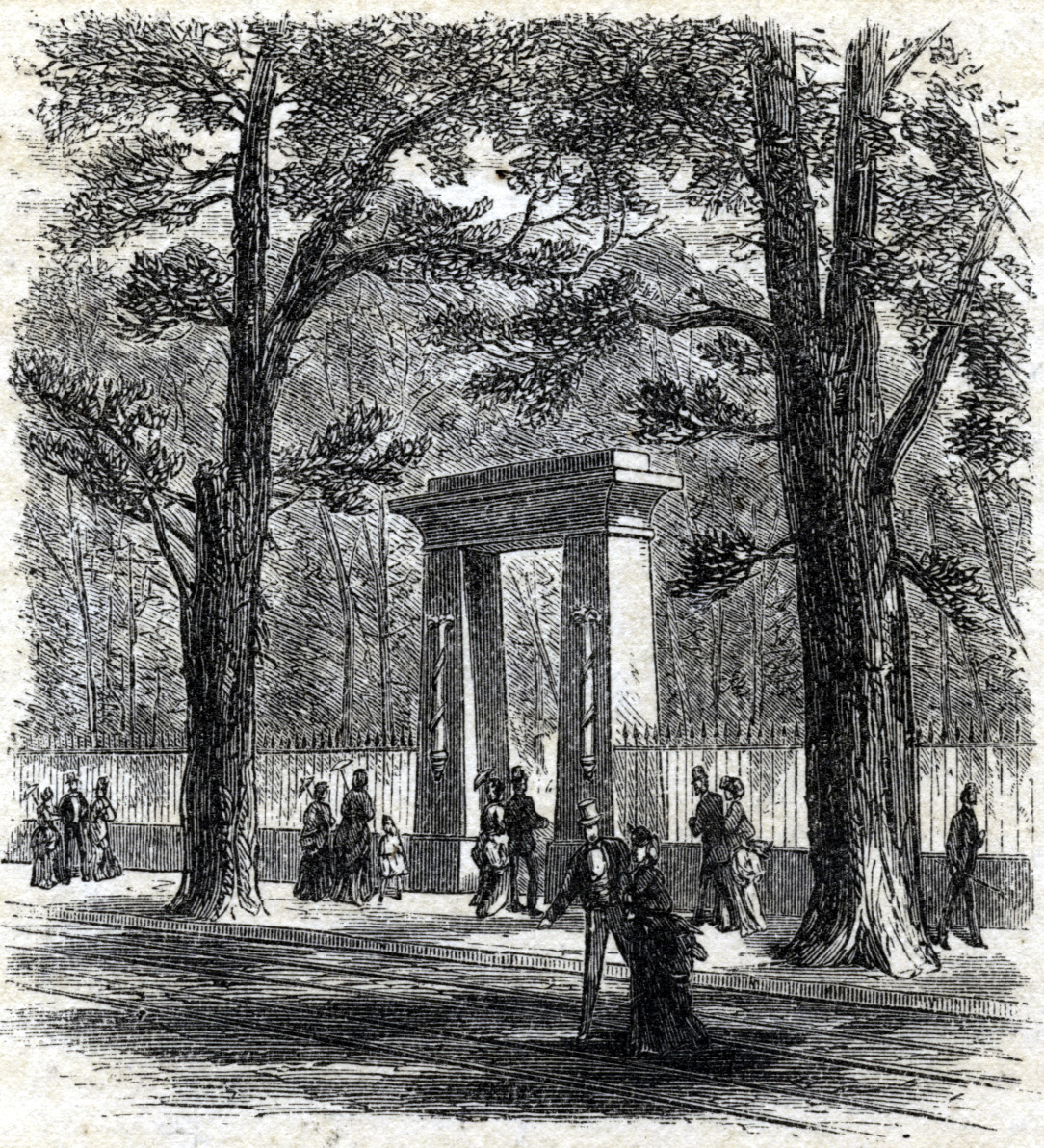 Gateway to the Granary Burying Ground, Tremont Street, Boston, 1881