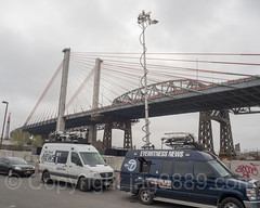 News Satellite Trucks at Opening Ceremony for New Kosciuszko Bridge, New York City