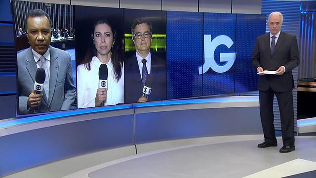 Jornal da Globo, o último noticiário do dia da emissora, teve duas edições no dia da divulgação da denúncia contra Temer - Créditos: Reprodução/Jornal da Globo