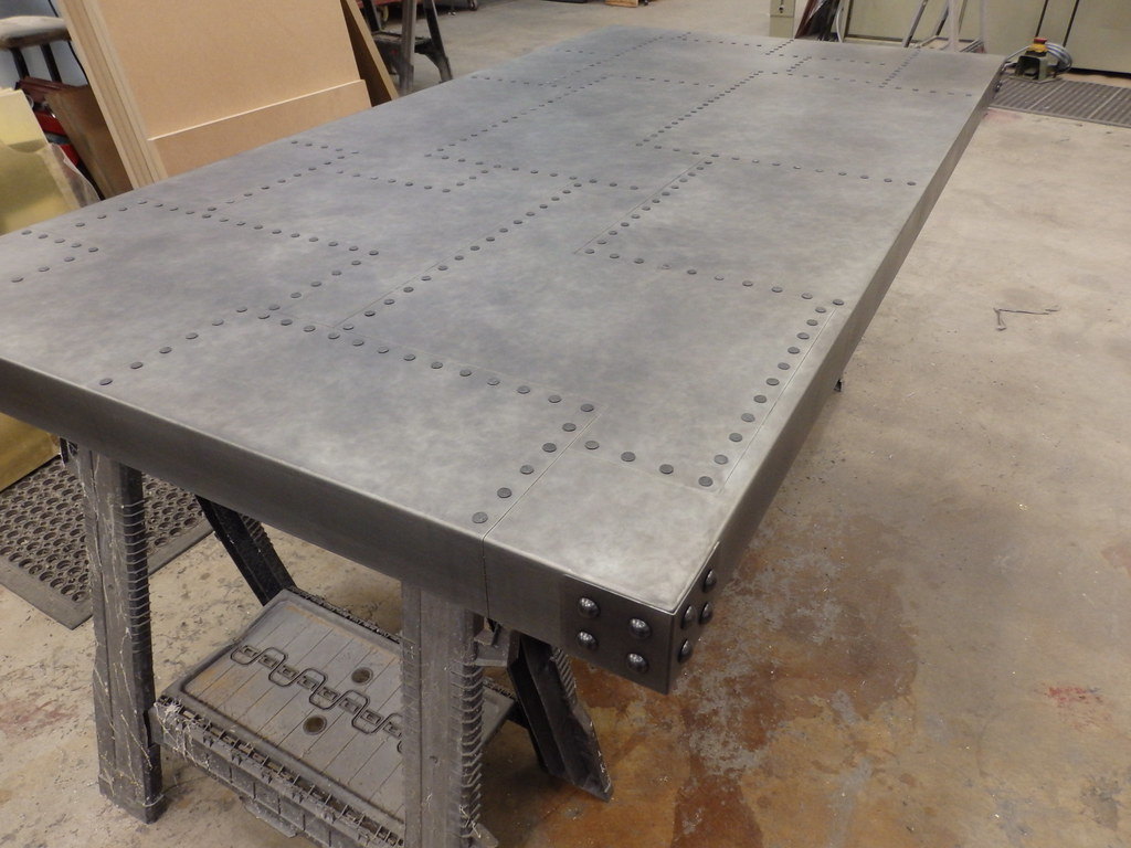 Aged Patchwork Zinc Table Top With Aged Rivet Detail