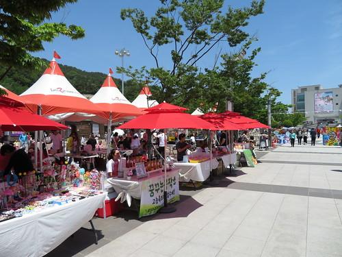 釜山慶南競馬場の物売りの様子
