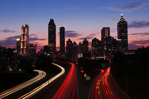 atlanta ga october 2016 jackson street bridge view georgia skyline architecture light trails suntrust plaza pacific tower westin peachtree