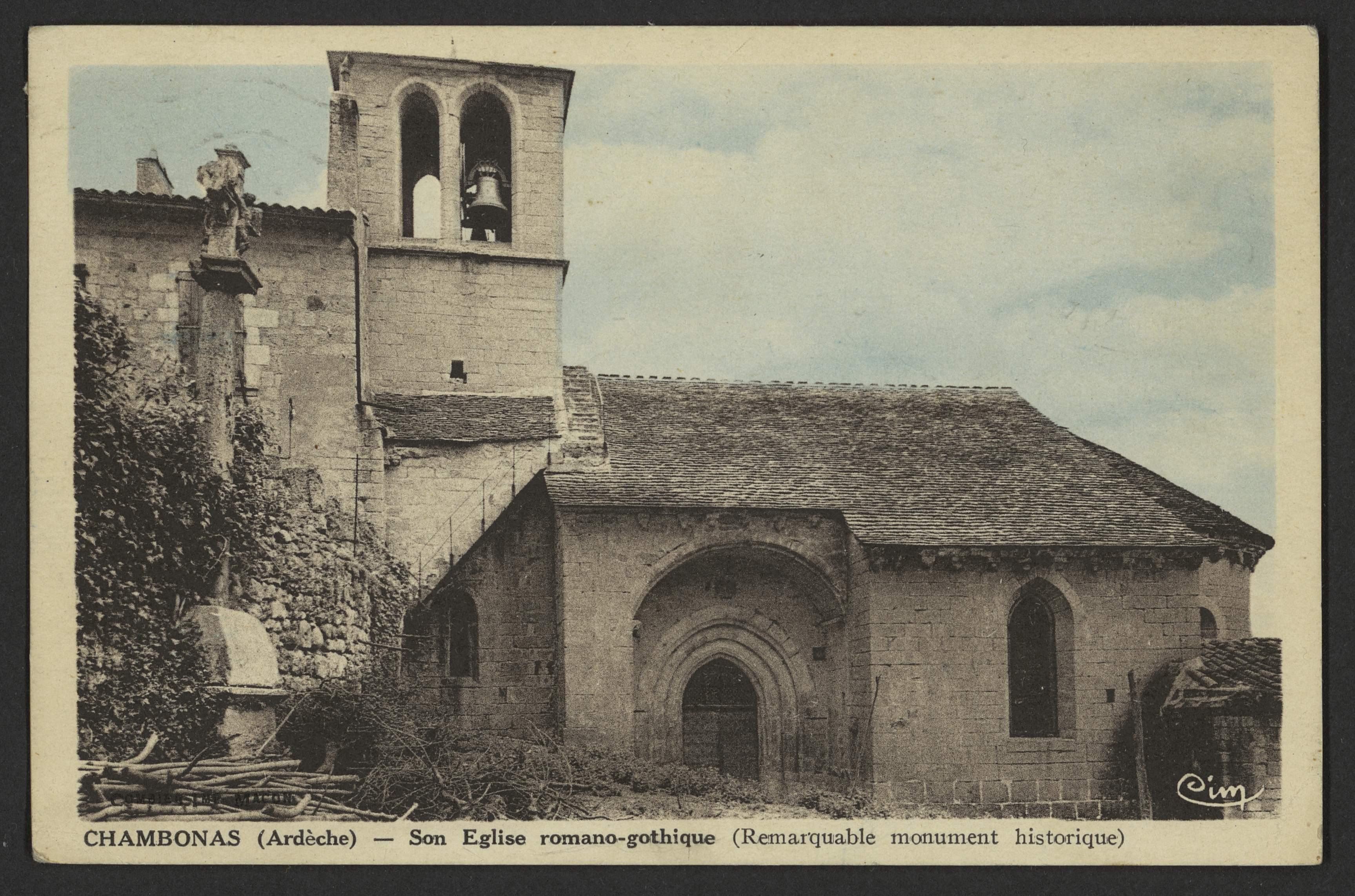 Chambonas (Ardèche) - Son Eglise romano-gothique (Remarquable monument historique)