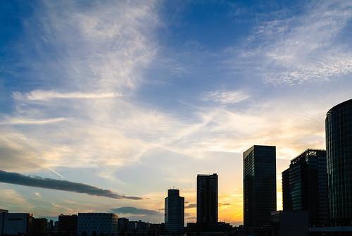 nikon d3000 minatomirai yokohama japan sunset skylines highrise sky clouds