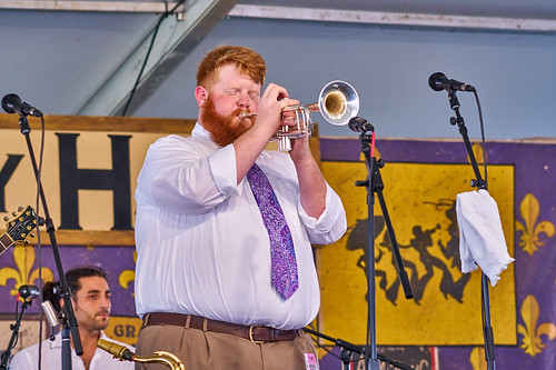Doyle Cooper Jazz Band in the Economy Hall Tent on Day 4 of Jazz Fest 2017 - May 4. Photo by Eli Mergel.