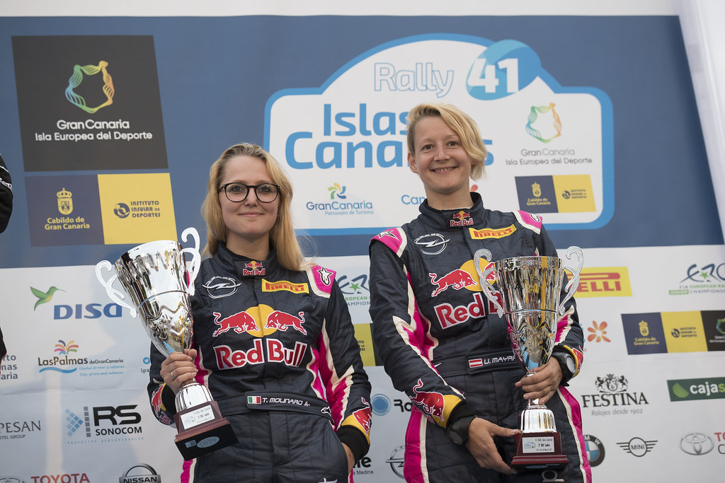 MOLINARO Tamara (ITA), MAYRHOFFER Ursula (AUT) Opel Adam R2, , ambiance portrait podium, during the 2017 European Rally Championship ERC Rally Islas Canarias, El Corte Inglés,  from May 4 to 6, at Las Palmas, Spain - Photo Gregory Lenormand / DPPI