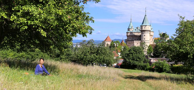 Family picnic at the Bojnice Castle in the apple tree yard