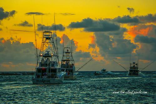 fishing boats sportfishingboats inlet water ocean atlantic atlanticocean dawn morning sunrise cloudy clouds sky nature weather outdoors outside hillsboroinlet hillsborobeach florida usa