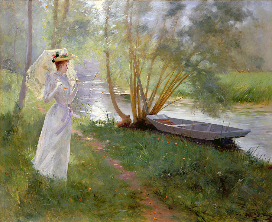 A Walk by the River by Andre Brouillet (1857 - 1914)