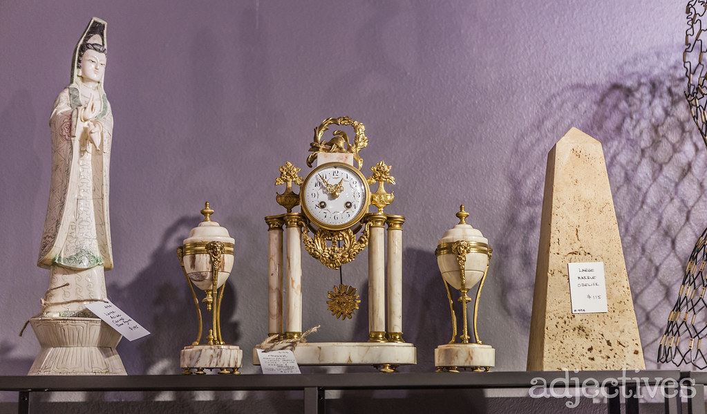 Antique desk clock and home decor at Adjectives Winter Park by Bella Fine Arts & Antiques