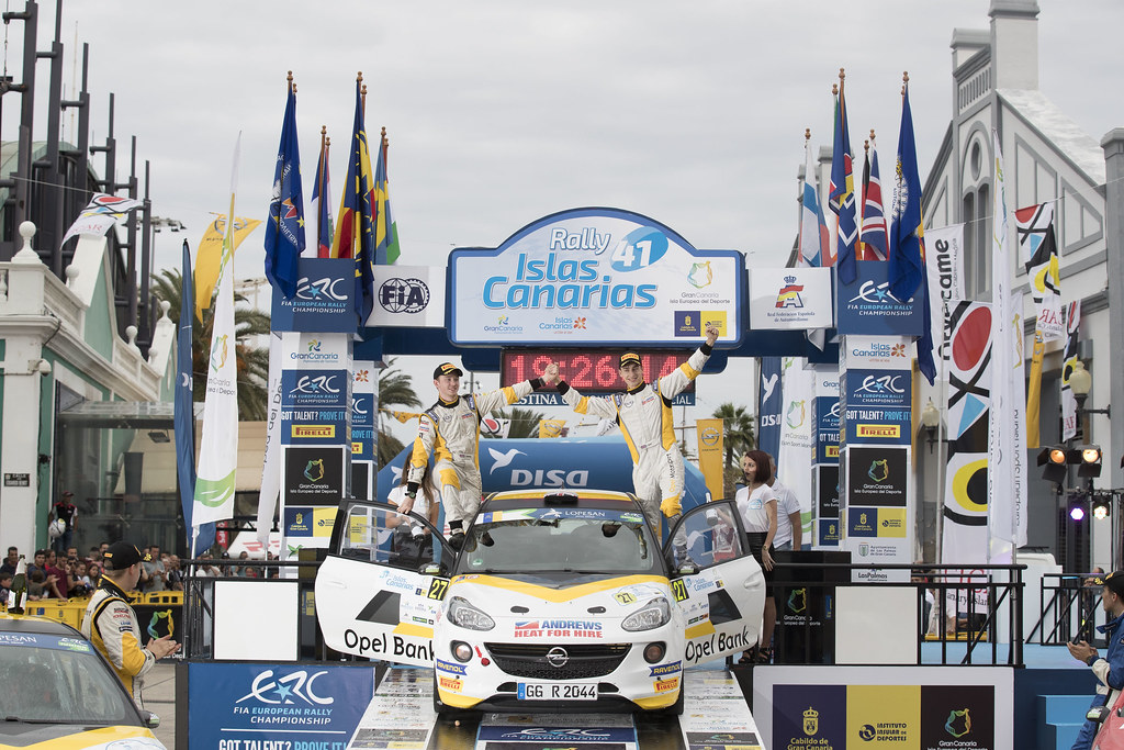 INGRAM Chris (GBR), EDMONDSON Elliot (GBR), Opel Adam R2, , ambiance portrait podium during the 2017 European Rally Championship ERC Rally Islas Canarias, El Corte Inglés,  from May 4 to 6, at Las Palmas, Spain - Photo Gregory Lenormand / DPPI