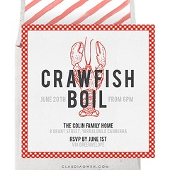 Invite all your friends and family, the crawfish is in the pot! The invitation features a crawfish illustration and a gingham pattern that gives it a homey feel #partytime #partyinvitations #crawfishboil