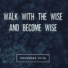 Whoever walks with the wise becomes wise, but the companion of fools will suffer harm. Proverbs 13:20 ESV