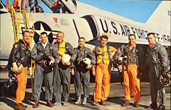 """The Original 7 Astronauts Seclected by NASA."" Postcard 100971.  NASA Photo, 1960s."