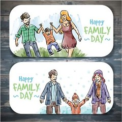 free vector Hand Drawn Happy Family Banners Set