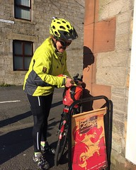 Mary-Jane arrives at the Newcastleton control on the Moss Trooper brevet.  #bemoremike #raphawomen #audaxuk